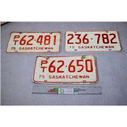 3 1975 Sask License Plates