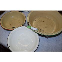 3 Enamel Basins and Bowls