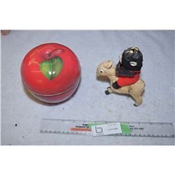 Wind Up Toy (Working) and Apple Tin