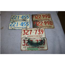 3 Sets of Sask License Plates
