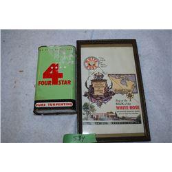 Framed White Rose Oil and 4 Star Tin
