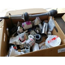 Box of plumbing tools and supplies