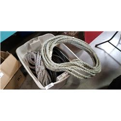 Tote of heavy duty electrical cable and rope