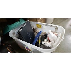 TOTE OF TOOLS, ELECTRONICS, METAL TRUCKS