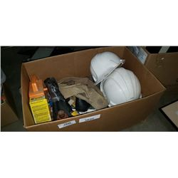 Box of hard hats, extention cord, bottle jacks and more