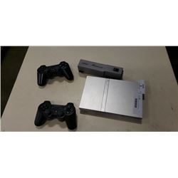 PS2 CONSOLE AND 2 CONTROLLERS AND PS MOVIE CARD