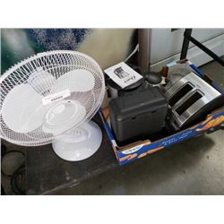Lot of various kitchen appliences and table fan