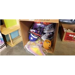 BOX OF HALLOWEEN DECORATIONS AND 2 COSTUMES