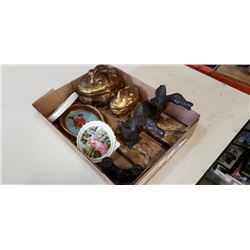 OPERA BINOCULARS, BRASS LIDDED DISHES, METAL DUCKS ON STONE BASES