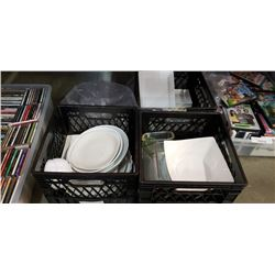 3 CRATES OF WHITE DISHES