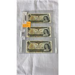 3 MINT 1973  1 DOLLAR BILLS IN SEQUENCE - 297, 298, 299 - LAST YEAR ISSUE
