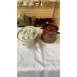 CORSON BLEU CERAMIC DISH AND LIDDED BISCUIT BARREL