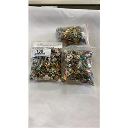 3 BAGS OF JEWELLERY - PINS, PENDANTS, ETC