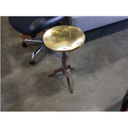 BRASS AND WOOD PARLOUR TABLE