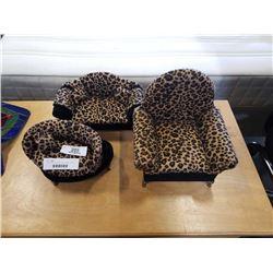 3 PIECE LEOPARD PATTERN JEWELRY BOX SOFA SET
