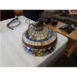 LEADED GLASS CHANDELIER - APPROX 20 INCHES ACROSS