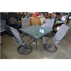 SQUARE GLASSTOP PATIO TABLE AND 4 SWIVEL CHAIRS