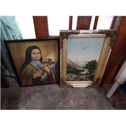 ANTIQUE PAINTING - NEEDS REPAIR AND VINTAGE RELIGIOUS PRINT
