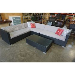 BRAND NEW PREMIUM OUTDOOR GIANT L SECTIONAL AND COFFEE TABLE- RETAIL $2699 W/ LIGHT GREY CUSHIONS AN
