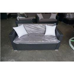 BRAND NEW OUTDOR RATTAN LOVE SEAT RETAIL $699 W/ DARK GREY CUSHIONS AND 2 THROW PILLOWS - POWDER COA