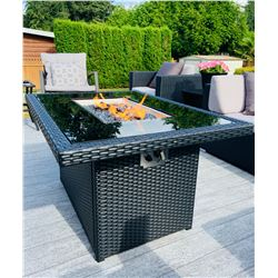 BRAND NEW RATTAN AND GLASS TOP FIRE TABLE RETAIL $999, POWDER COATED ALUMINUM FRAME, 55,000 BTU, CSA