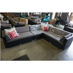 BRAND NEW PREMIUM OUTDOOR GIANT L SECTIONAL - RETAIL $2499 W/ DARK GREY CUSHIONS AND 4 ACCENT PILLOW