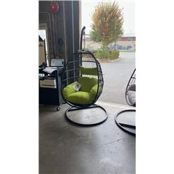 BRAND NEW GREEN CUSHION HANGING EGG CHAIR - RETAIL $949 W/ NECK PILLOW, FOLDABLE FRAME, POWDER COATE