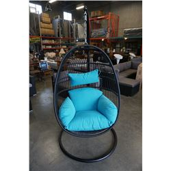 BRAND NEW BLUE CUSHION HANGING EGG CHAIR - RETAIL $949 W/ NECK PILLOW, FOLDABLE FRAME, POWDER COATED