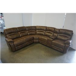 BRAND NEW BROWN AIR LEATHER CORNER RECLINING SECTIONAL W/ CONSOLE AND BRASS NAIL HEADS - RETAIL $289