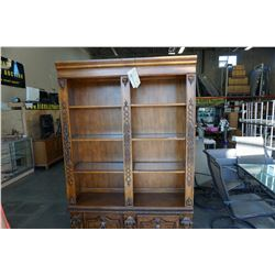 ASHLEY FURNITURE DOUBLE BOOKSHELF WITH GLASS SHELVES AND 2 DRAWERS - APPROX 83 INCHES TALL