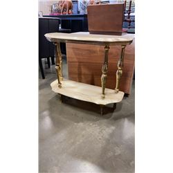 BRASS AND STONE LOOK SOFA TABLE