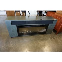 GREEN STAND WITH ELECTRIC FIREPLACE