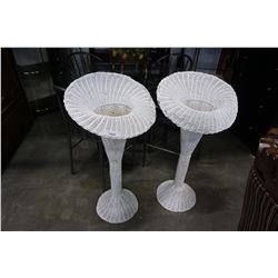 2 TALL WHITE WICKER VASES - 43 INCHES TALL