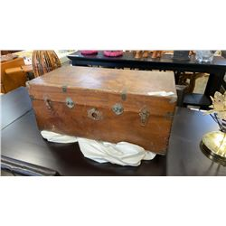 VINTAGE WOOD TRUNK WITH BRASS ACCENTS