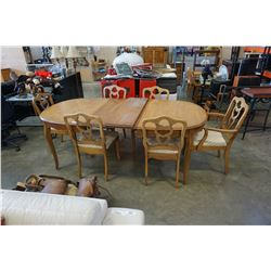 FRENCH PROVINCIAL DINING TABLE WITH 3 LEAFS AND 6 CHAIRS