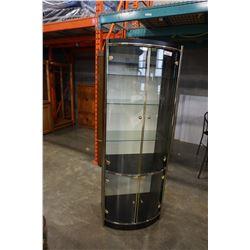 BLACK BOWED GLASS CABINET
