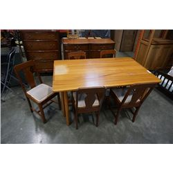 MAPLE GATELEG TABLE AND 5 CHAIRS