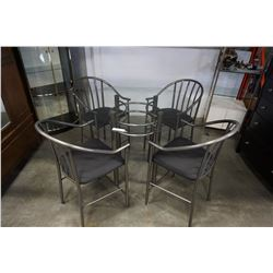 Round glasstop dining table with 4 metal chairs