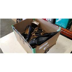 BOX OF HIGH HEEL SHOES AND BAG