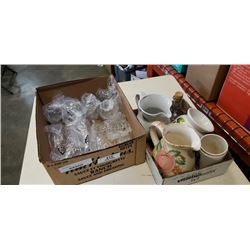 2 boxes of crystal cups and ceramic jugs