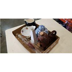 VITNAGE POTTERY JUG, GINGER JAR, ART GLASS WINE BOTTLE