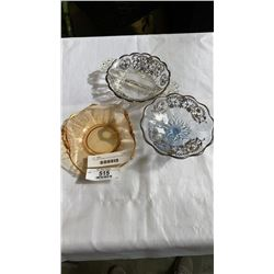 2 SILVER OVERLAY AND ETCHED GLASS DISH