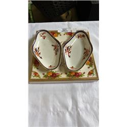 OLD COUNTRY ROSE PLATE AND 2 BOOTHS CHINA DISHES