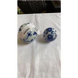 2 BLUE AND WHITE DRAGON BALLS