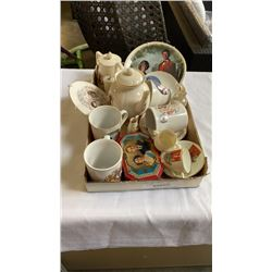 TRAY OF ROYALTY AND CRESTED CHINA