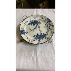 ANTIQUE BLUE AND WHITE PORCELAIN PLATE WARMER