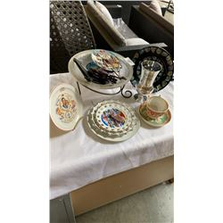 LOT OF COLLECTOR PLATES, DECORATIVE BOWL, VASE AND CHINA