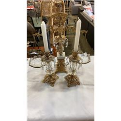VINTAGE BRASS AND GLASS SCALE AND 2 CANDLE STICKS