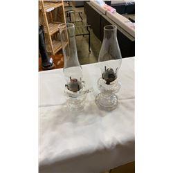 2 ANTIQUE FINGER KEROSENE LAMPS