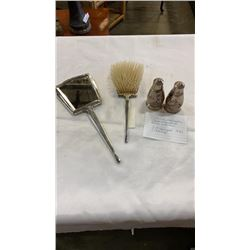 ART DECO BRUSH AND MIRROR STAMPED STERLING AND SALT AND PEPPER STAMPED 925